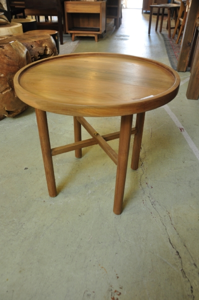 "Teak Round X Base Side Table   22.8""D x 18""H   Price: $295"