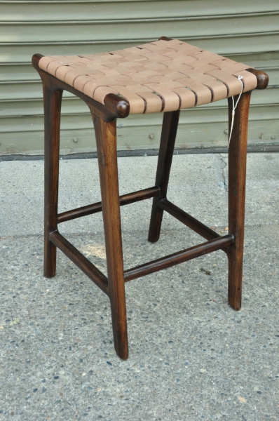 """Wo  ven Leather Counter Stool    Price: $325   15.7""""Wx15.7""""Dx25.6""""H"""