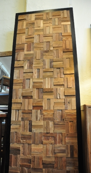 "Teak Framed Panel Price:  $670.00 90""W x 31""D"