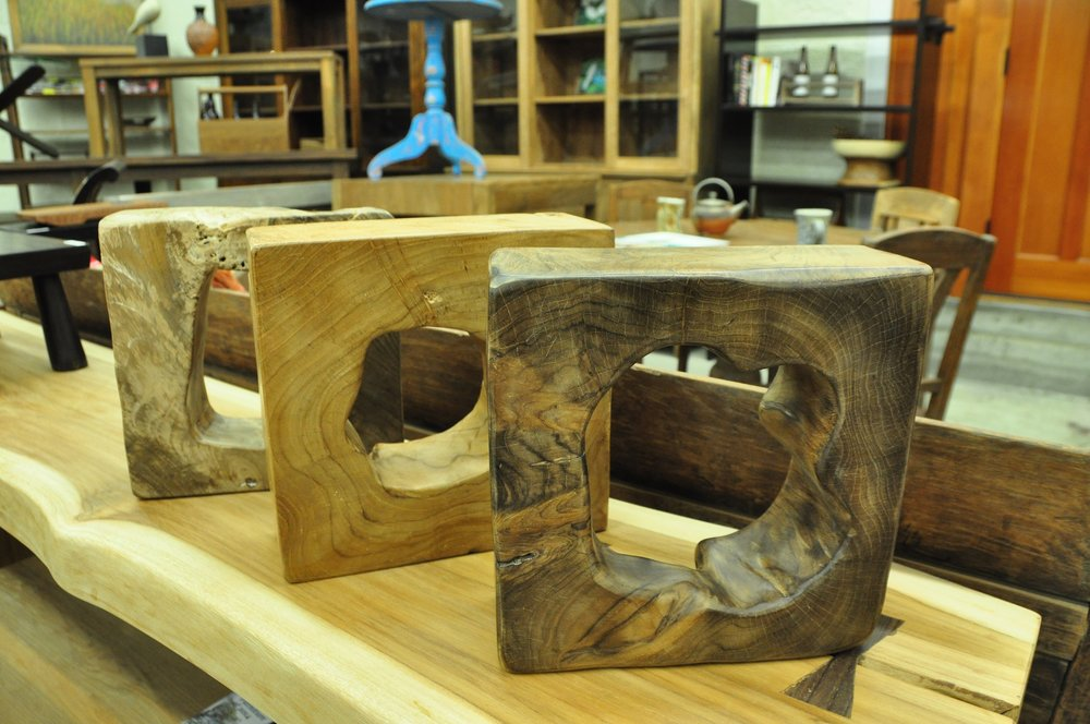 "Square Teak Sculpture/Bookends   Sm 10"",  $85  Lg 15"",  $100"