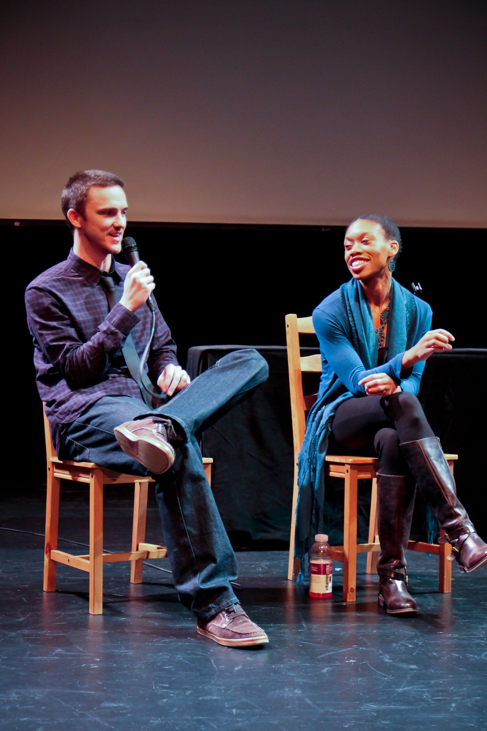 Bryan and Angela doing a Q&A after a Seattle screening.