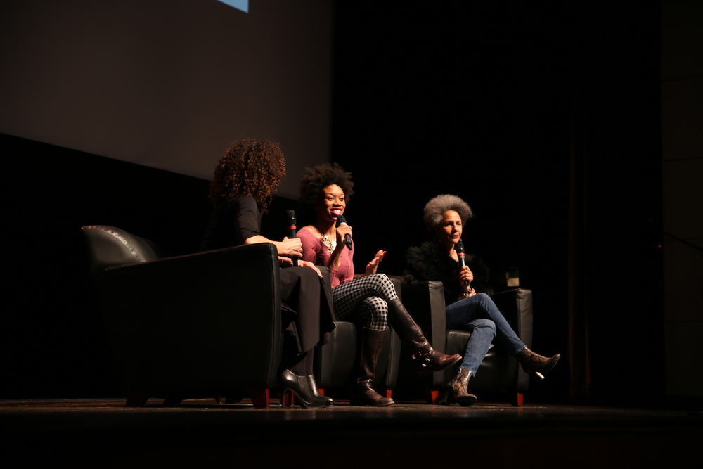 April Dinwoodie, Angela Tucker, and Susan Harris O'Connor on the panel at the Schomburg Center in Harlem, NYC.