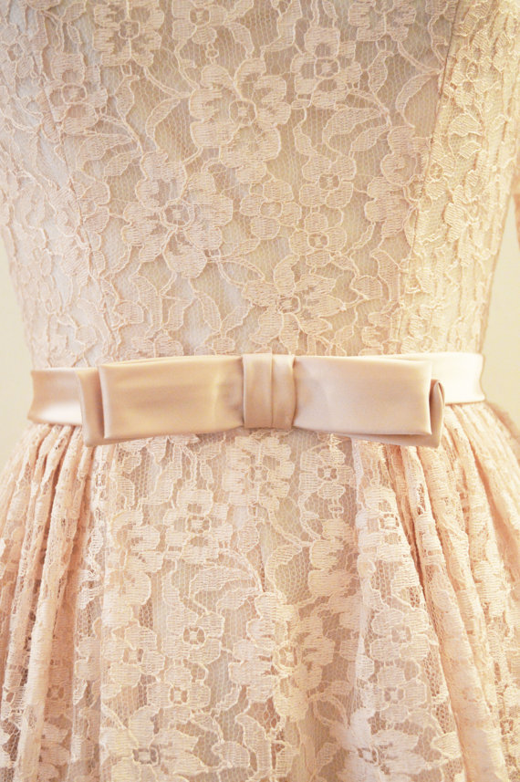 Vintage Bridal 1950's Blush Pink Chantilly lace tea length wedding gown with long sleeves
