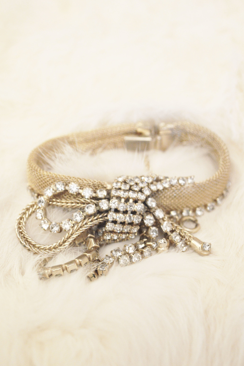 Vintage Bridal Gold Deco Mesh Cluster Statement Bracelet With Rhinestone Tassels In A Bow