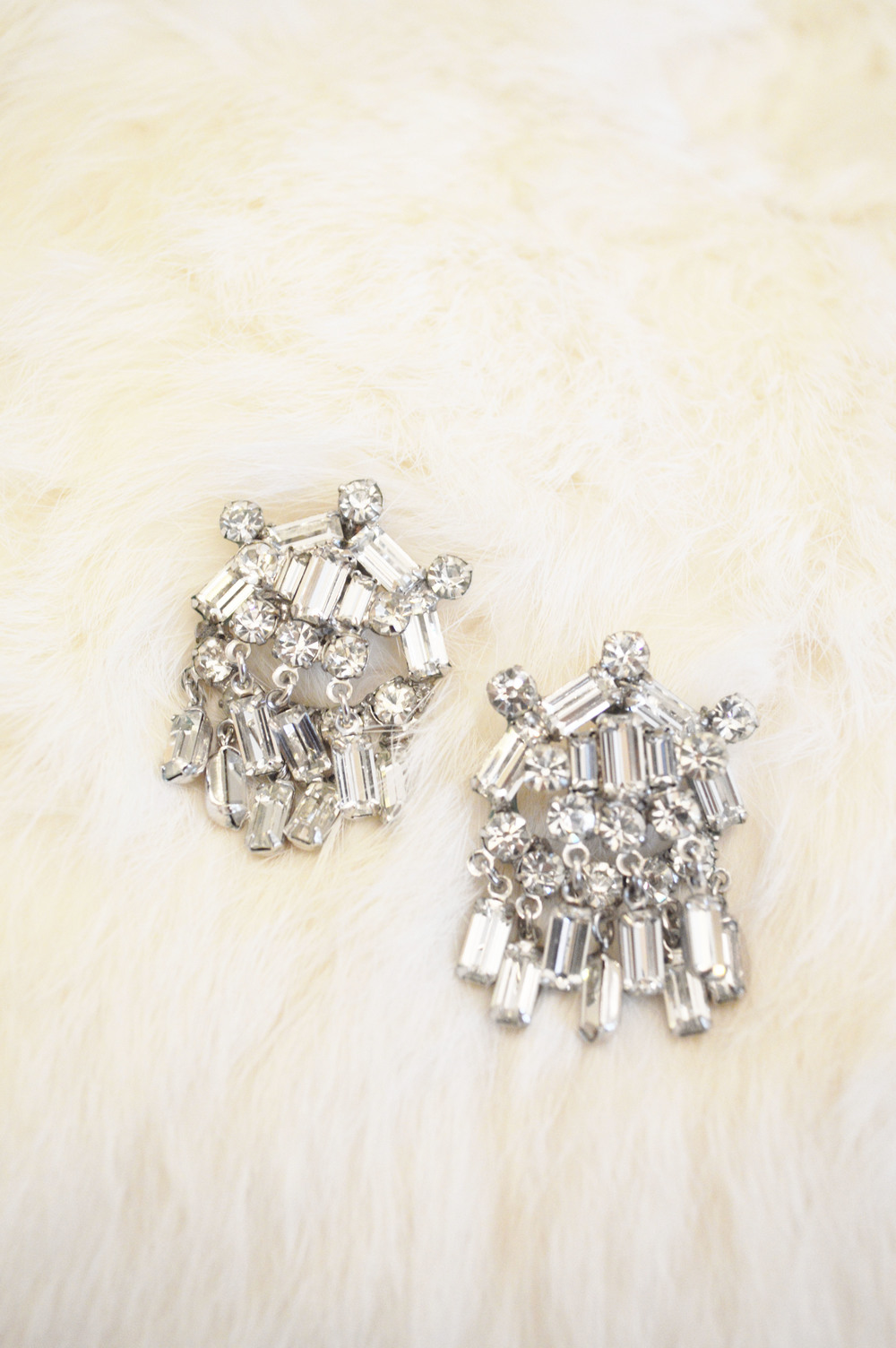 Vintage Bridal Silver And Rhinestone Dangle Statement Earrings With Tassels