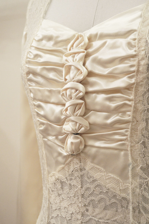 Vintage 1940s slipper satin and lace old hollywood glam wedding gown