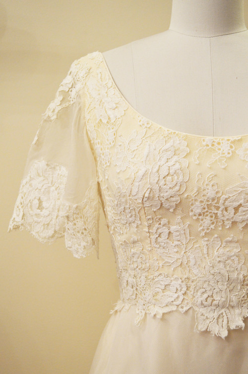 Vintage 1960s Silk Organza Wedding Dress With Lace Hem and Bodice
