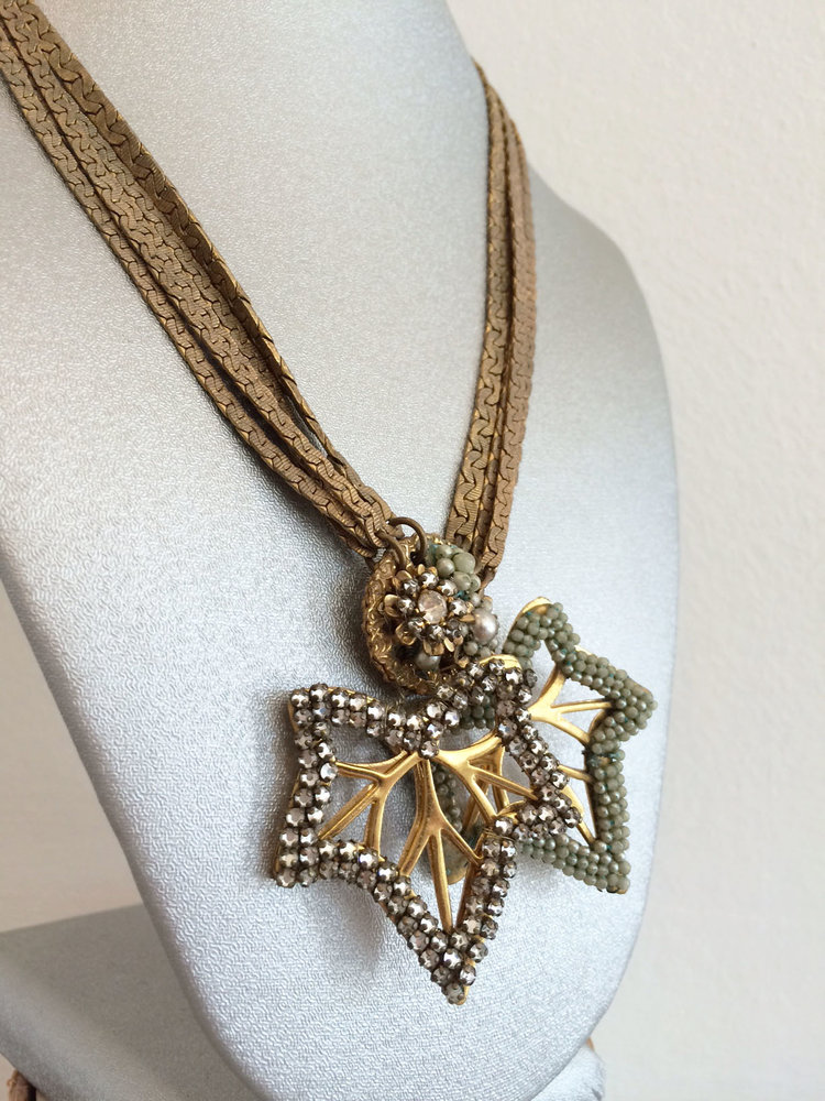 Vintage Signed Miriam Haskell necklace with hand-wired gold metal ...