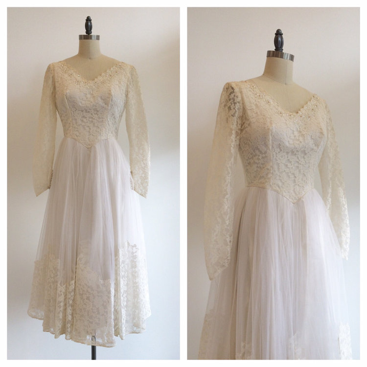 Vintage Bridal 1950\'s Ivory Lace long sleeve tea length wedding ...