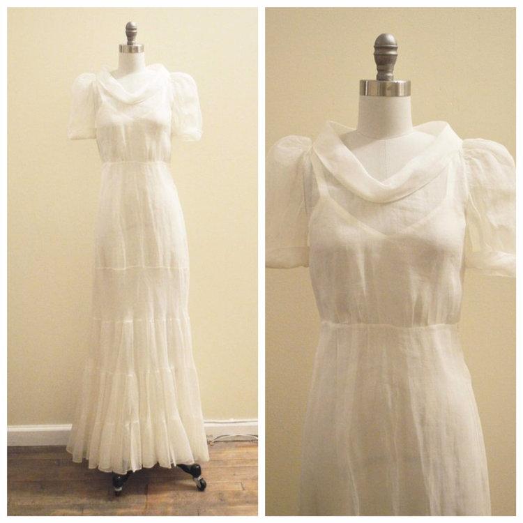 Vintage Bridal 1930\'s Silk organza mermaid wedding gown — Miranda\'s ...