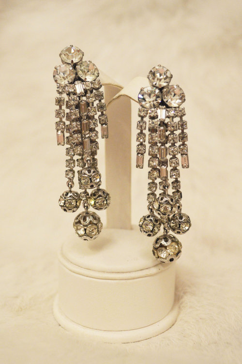 Vintage 1950s silver crystal rhinestone statement chandelier vintage 1950s silver crystal rhinestone statement chandelier earrings designer unknown aloadofball Choice Image