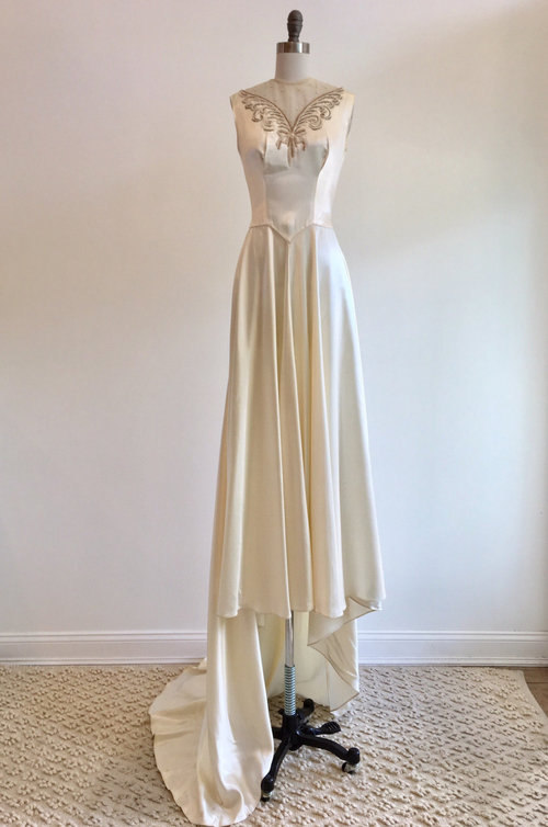 Vintage 1940s Ivory Slipper Satin Wedding Dress With Beaded Detail