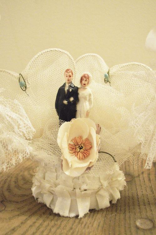 Vintage Bridal Wedding Cake Topper 1920s - Bride & Groom Red Hair ...