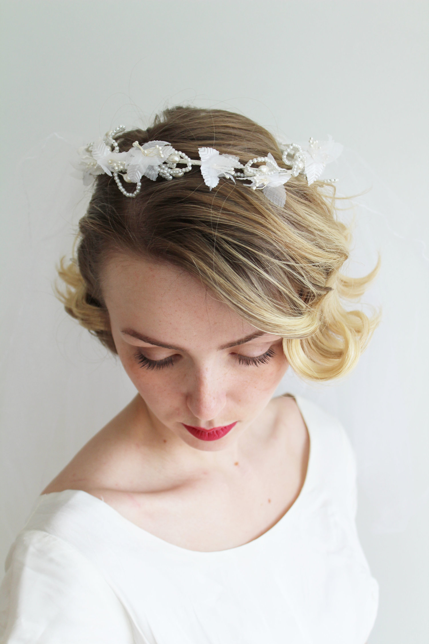 Vintage 1980s Flower Crown With Attached Veil Mirandas Vintage Bridal
