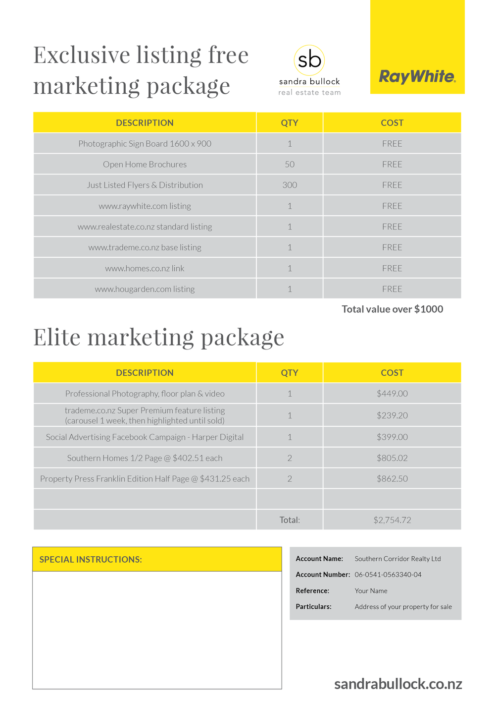 Marketing Package Information Sheet
