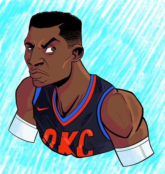 Mean Muggin' Westbrook. . . . . #RussellWestbrook #westbrook #okc #oklahomacity #thunder #brodie #nba #basketball #draw #drawing #digital #sketch #art #illustration #ipad #procreate