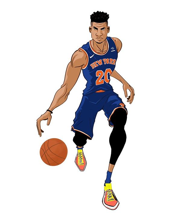This one is of @kknox_23 - career game for the rookie today. Yeah! . . . #Knicks #kevinknox #rookie #newyork #newyorkknicks #easternconference #nyc #nba #basketball #draw #drawing #digital #sketch #art #illustration #ipad #procreate
