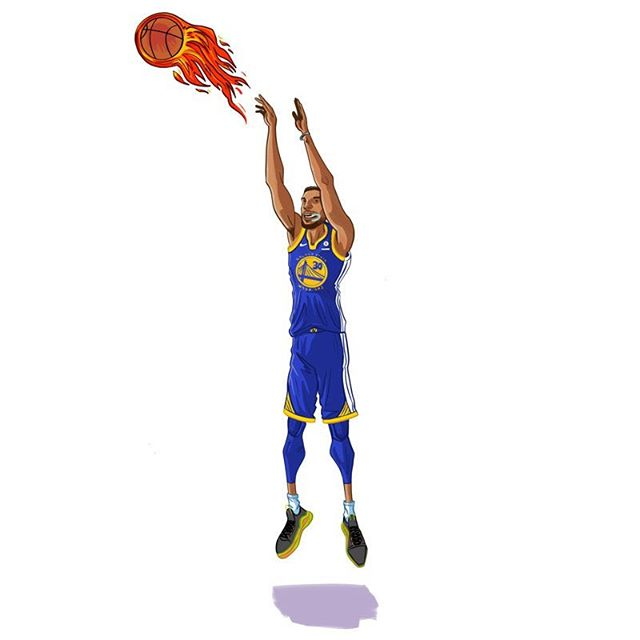 Steph taking his shot. Considered drawing a car park for the background. . . . . #StephenCurry #curry #three #BANG #warriors #underarmour #mouthguard #goldenstate #goldenstatewarriors #california #dubs #nba #basketball #draw #drawing #digital #sketch #art #illustration #ipad #procreate