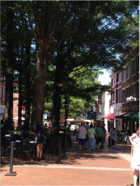 Photo of downtown Charlottesville by Karen Mawyer.