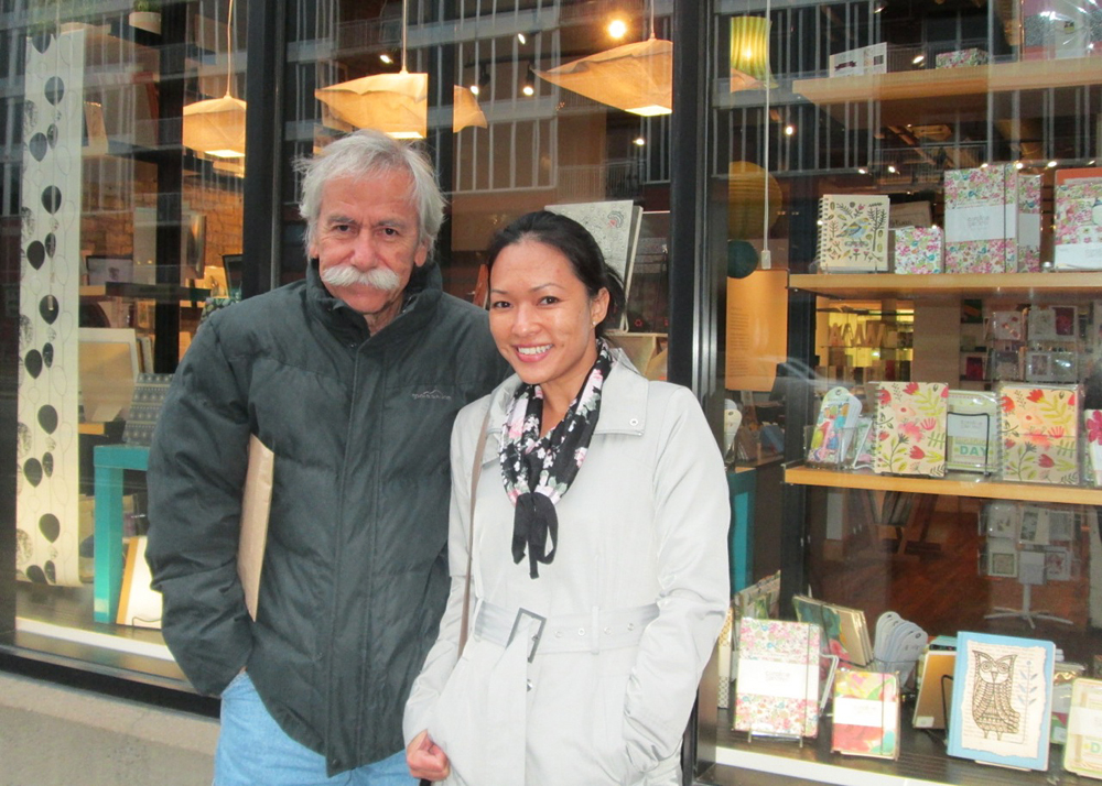 Frank Stewart, editor of MANOA, and Sonia Cabrera, associate editor, in front of  Open Book , which houses several publishing entities and has a wonderful gift shop. Most of the items shown on my  home page  were obtained at Open Book.