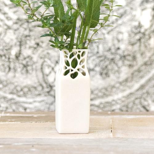 Mini Square Carved Porcelain Lace Bud Vase