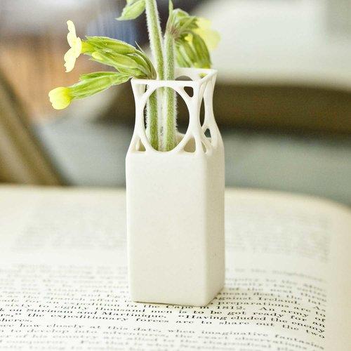 Mini Square Carved Porcelain Bud Vase