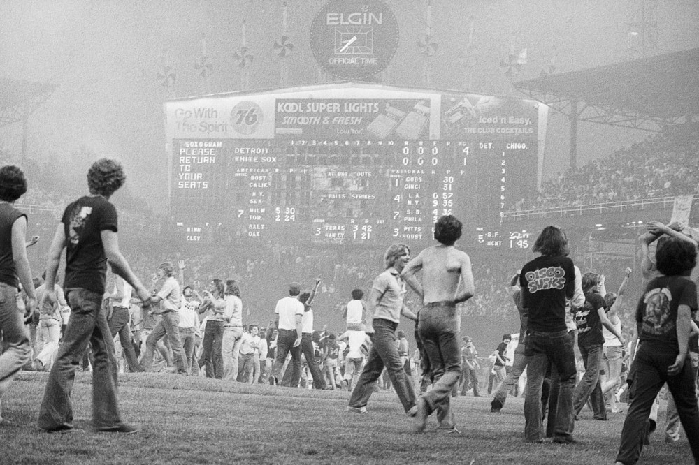 Disco Sucks riot at Comiskey Park, Chicago, 1979.