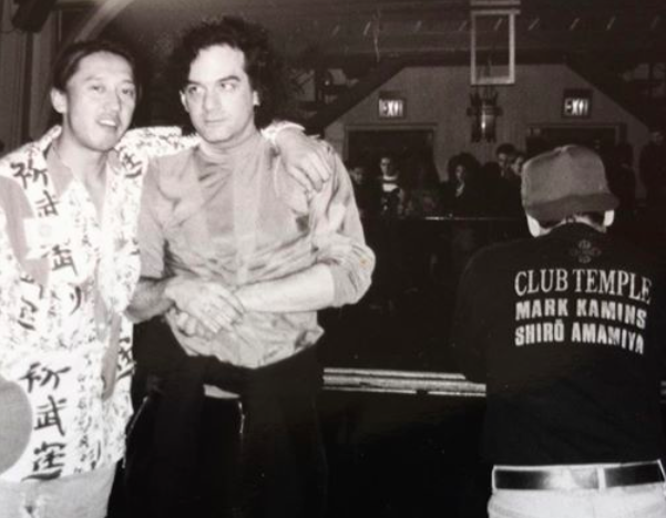 Upstairs at the Limelight with Shigekazu Yagi left and Miguel Ortega right circa 1991. Courtesy of Shelly Bomb.
