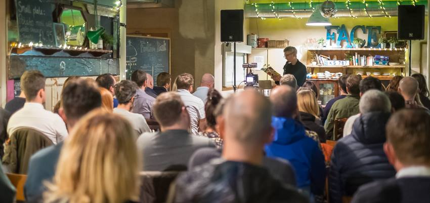 From the back of the room at the Baltic Social, Liverpool. It was great to speak to a packed room. Thanks to Paula McMahon for hosting. Photo by Martin Noakes. — with Paddy Holmes and Lawrence Doolan. .jpg