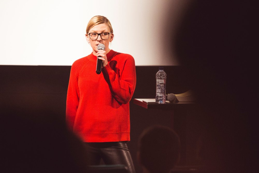 Kotryna Lingienė introduces the talk in Vilnius. Photo by Tautvydas Stukas..jpg