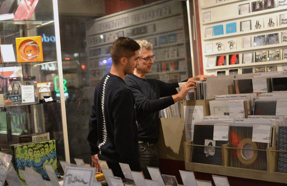 Phonica Records, London: Juan and I flick through records to pick out some early 1980s sounds before the event begins at Phonica. I used to have brown hair. Then I started writing books (and they've taken a long time to write)... Photograph: Elli Michail.