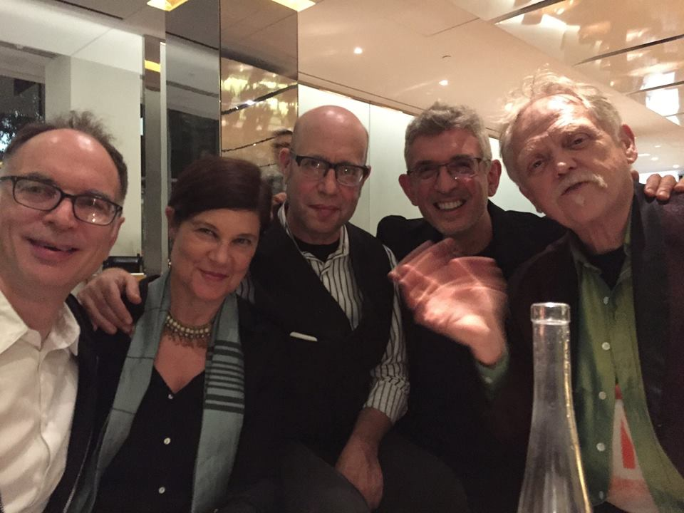 In the MoMA bar after the launch, left to right: Ken Wissoker, Kit Fitzgerald, Peter Gordon, Tim Lawrence, Jim Fouratt.