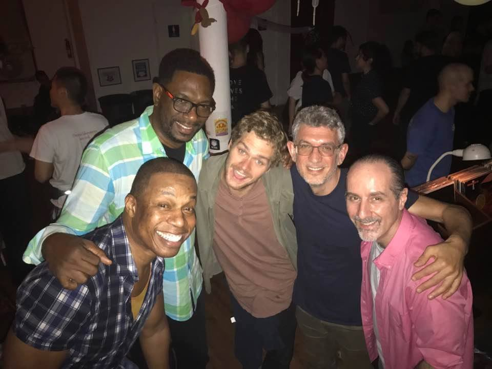 End of the night at Joy with (L>R) Archie Burnett, Ernesto Green, Finn Jones, happy but exhausted me, and Douglas Sherman.