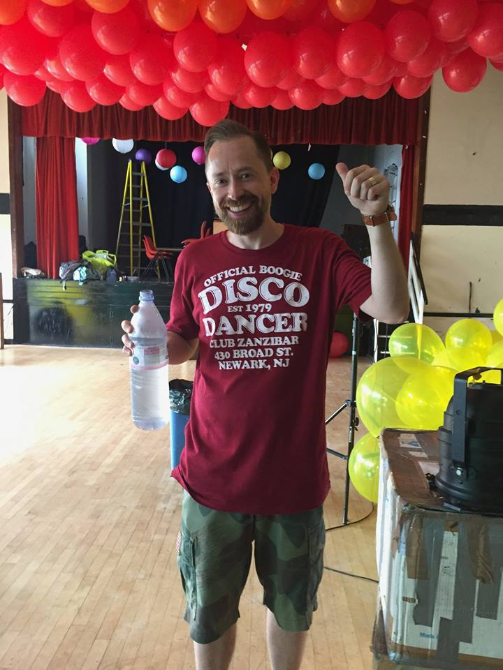 Simon Halpin, established disco dancer, during the set up at the Rose Lipman Building. It was hot from the start...