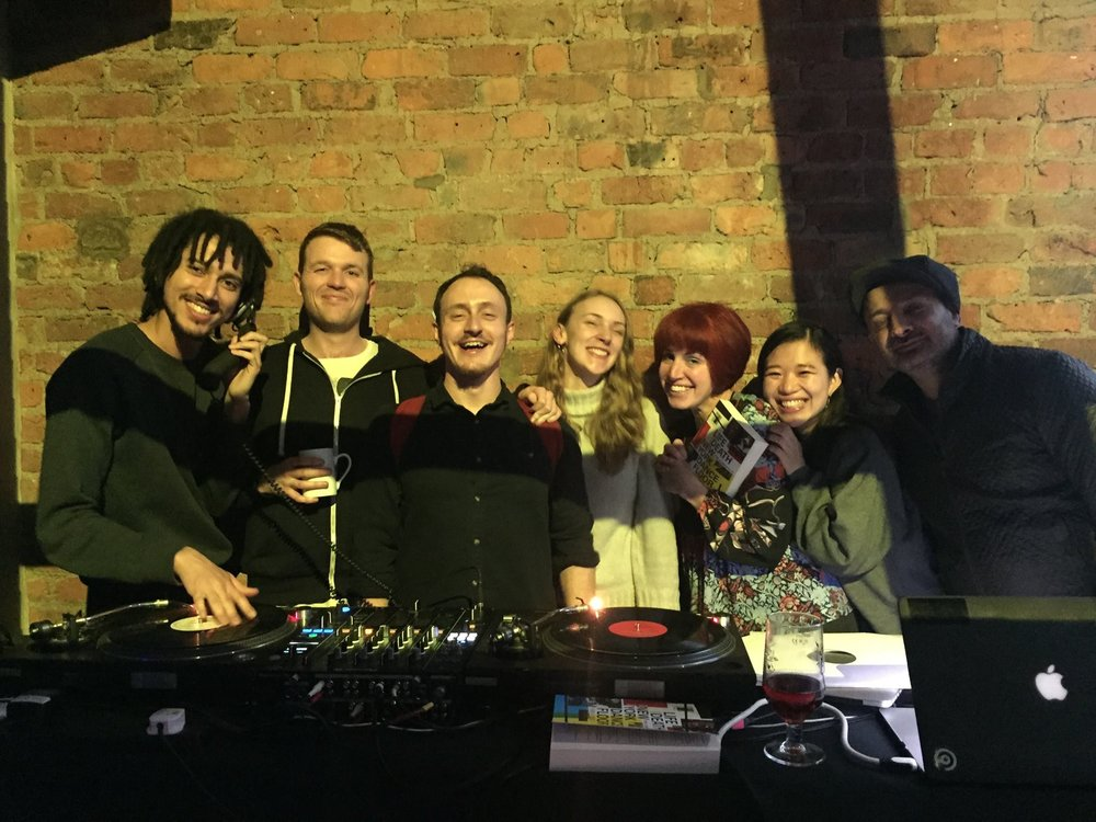 Texture, Manchester: The Screened team-plus at Texture, Manchester, L>R  Nick Kagame Jones , Liam Britnell, Benjamin Davies , Anna Louise Cooper , the owner of Texture (can someone remind me of her name?), Lucky Cloud's  Suiko Nakai and the irrepressible  Irfan Rainy . What a fun night!