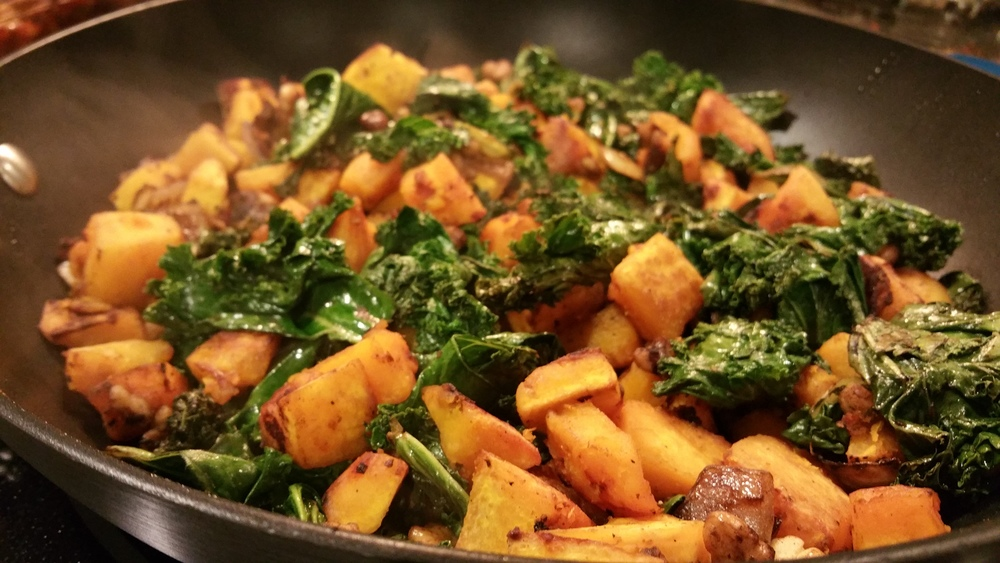 roasted buttercup squash kale sauté