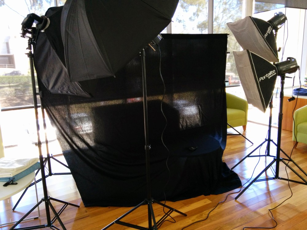 My initial set up for the Low Key shots. This eventually ended up with one soft box to the right, and one high umbrella to the left as fill. This allowed me to create a dramatic look with images for their crumbs and spices.