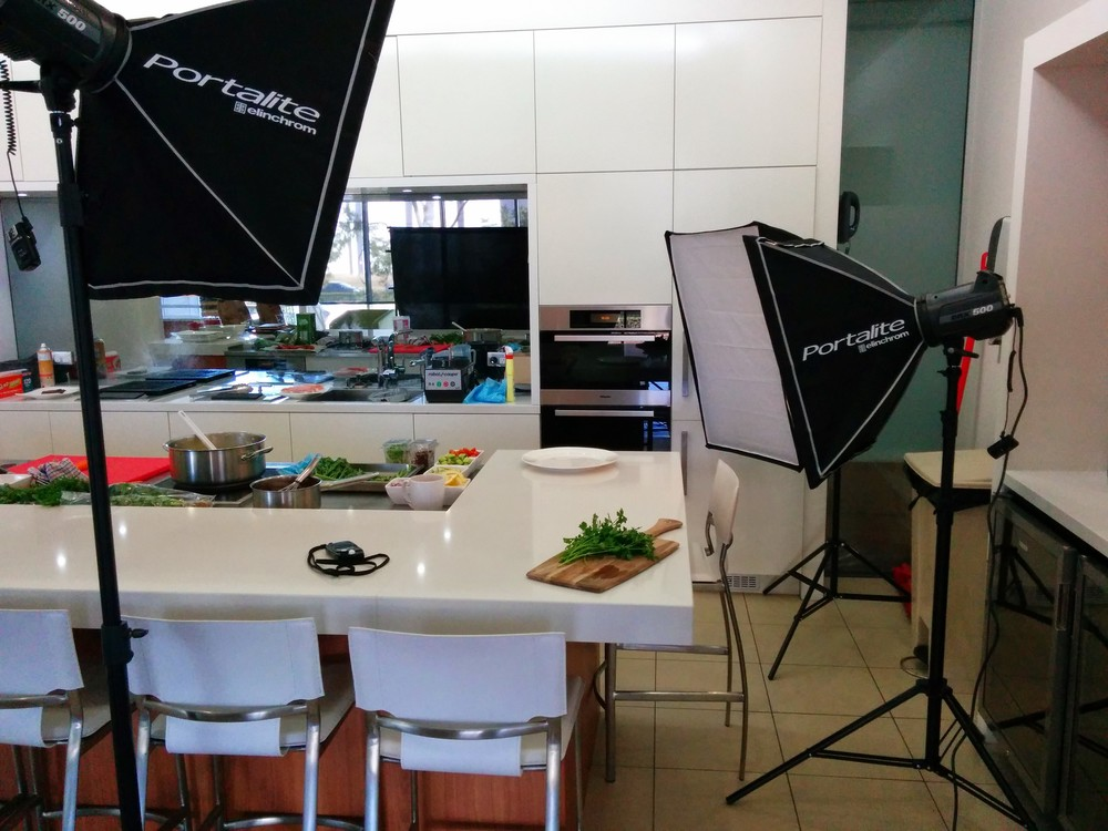 This was my High Key set up. The aim was to have a slightly reflective surface, and a choice of a white background or the oven as a dark background. This set up was mainly for the cooked meals.