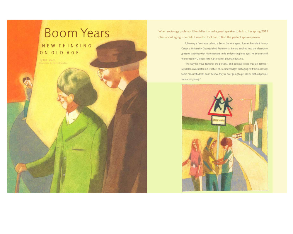 Feature about the perception of aging. Illustration by Herve Blonton.