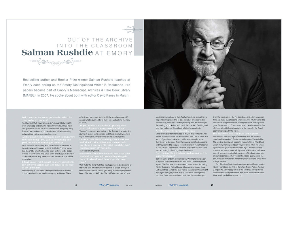 Feature about Rushdie as professor. Illustration by Kay Hinton.