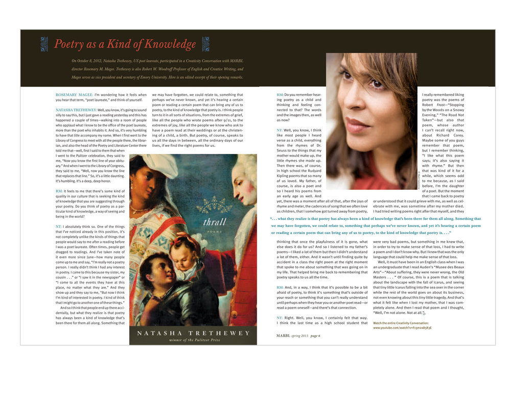 Issue featuring an interview with Natasha Tretheway, US poet laureate.