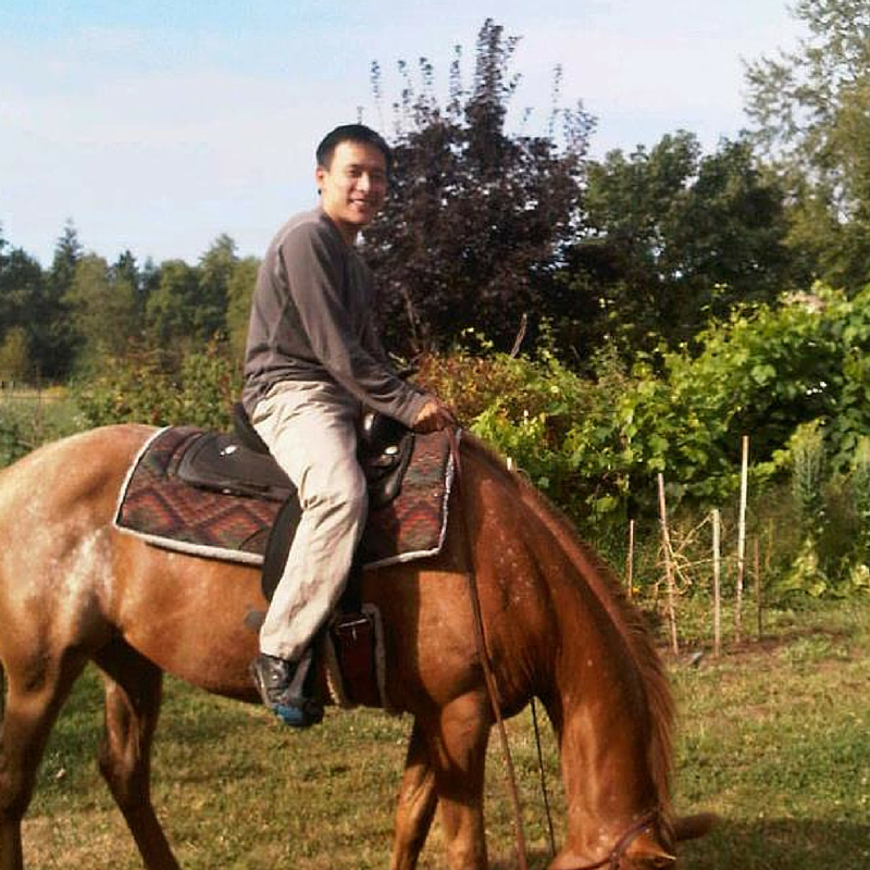 Huyen Hoang on horseback in Jefferson, Oregon.