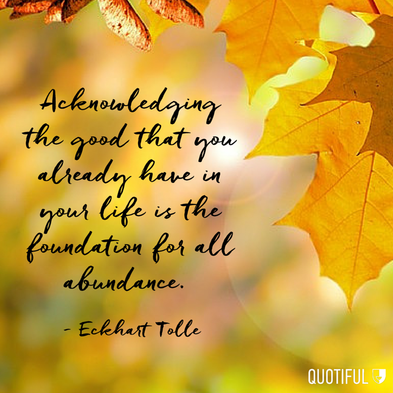 """Acknowledging the good that you already have in your life is the foundation for all abundance."" Eckhart Tolle"