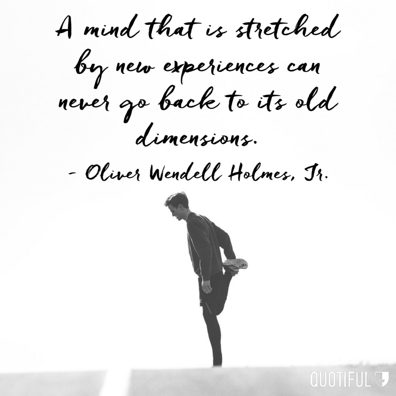 """A mind that is stretched by new experiences can never go back to its old dimensions."" - Oliver Wendell Holmes, Jr."