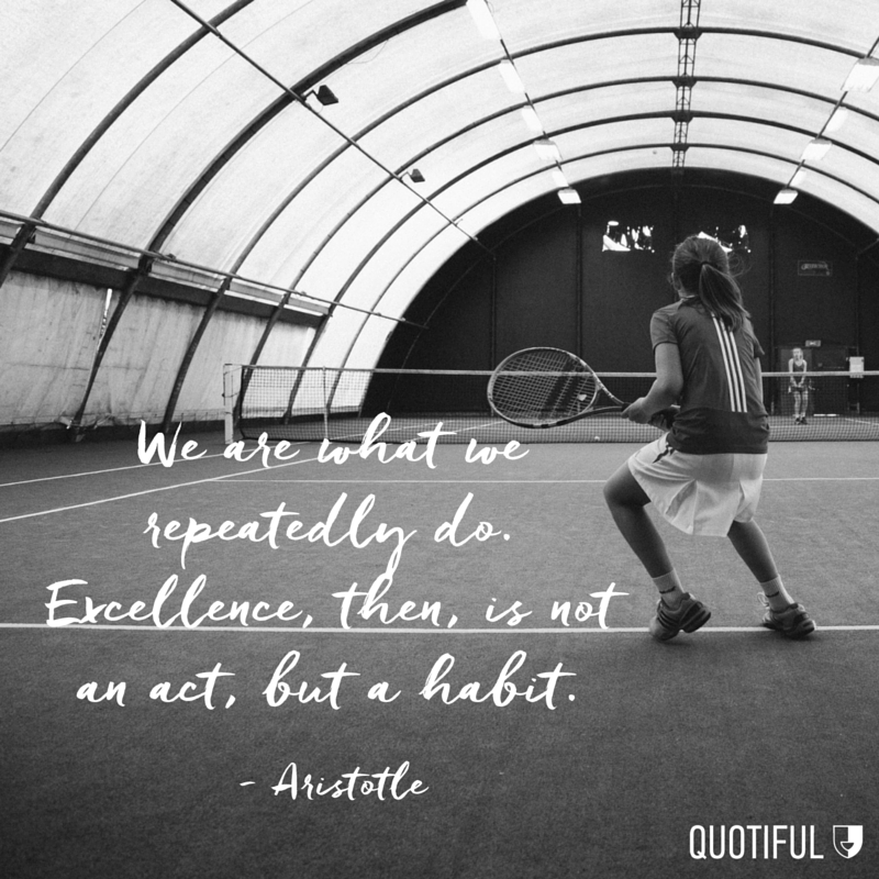 """ We are what we repeatedly do. Excellence, then, is not an act, but a habit."" - Aristotle"