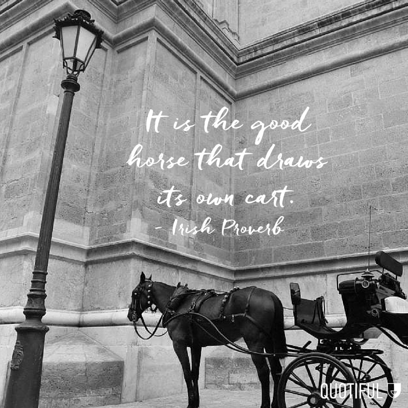 """It is the good horse that draws its own cart."" - Irish Proverb"