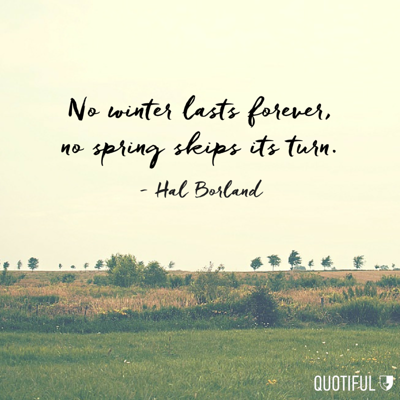 """No winter lasts forever, no spring skips its turn"". - Hal Borland"