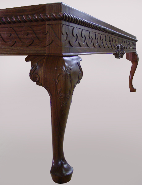 Hand-Carved Walnut Cocktail Table
