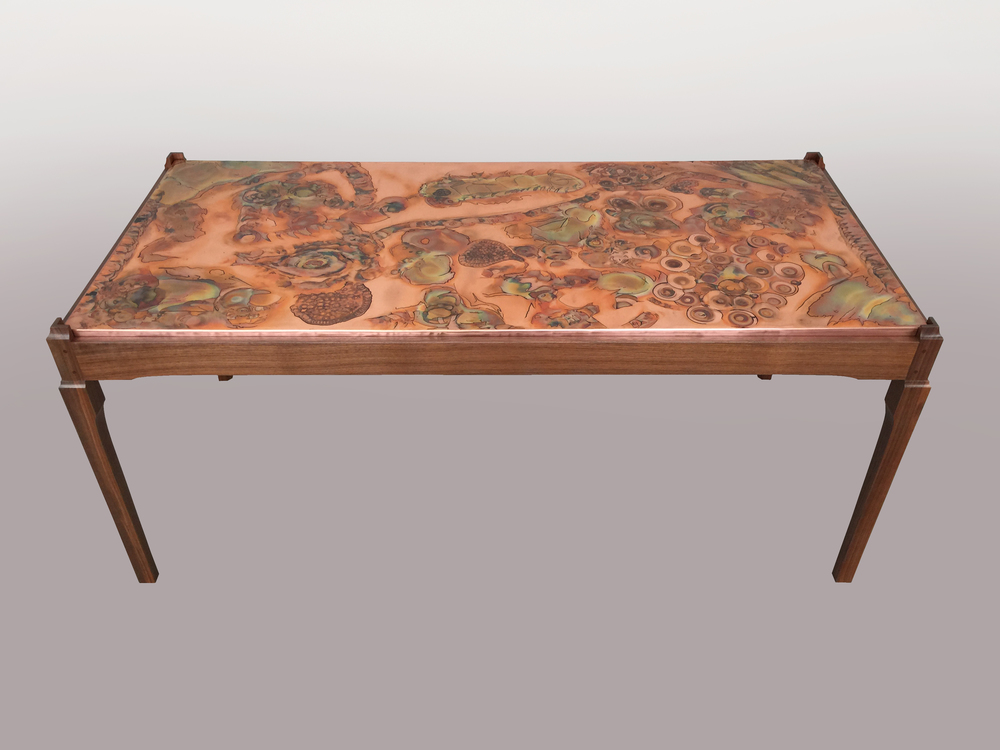Connect Coffee Table - Flame painted & inked copper top
