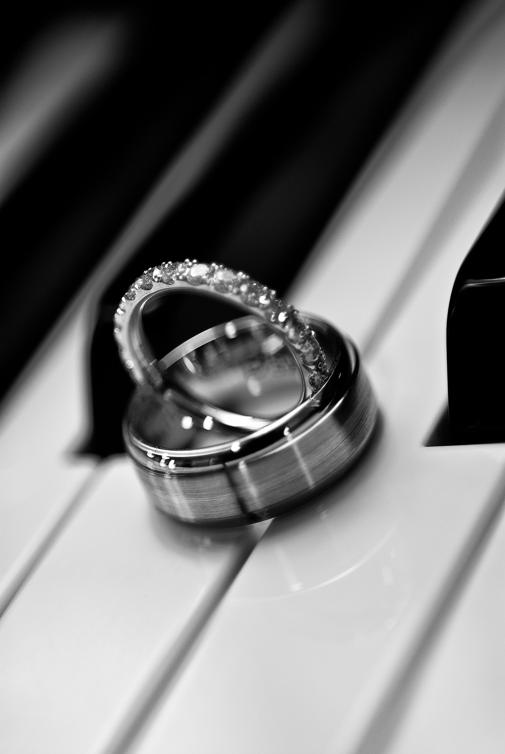 Wedding Rings on Piano at a Wedding